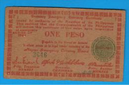 FILIPINAS - PHILIPPINES  -  GUERRILLAS - NEGROS - 1 Peso 1944  Serie F1 - Filipinas