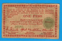 FILIPINAS - PHILIPPINES  -  GUERRILLAS - NEGROS - 1 Peso 1944  Serie F3 - Filipinas
