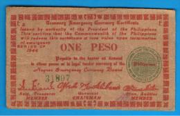 FILIPINAS - PHILIPPINES  -  GUERRILLAS - NEGROS - 1 Peso 1944  Serie E2 - Filipinas