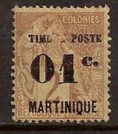 MARTINIQUE 1891 OVERPRINT ERROR SC # 21 MH - Martinique (1886-1947)