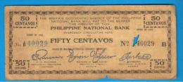 FILIPINAS - PHILIPPINES  -  GUERRILLAS - MISAMIS OCCIDENTAL - 50 Centavos 1942 Serie B - Filipinas
