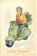 Moto  Motorrad  Scooter Vespa ? Motorcycle   Velo  Enfant    Illustrator  Old  Postcard  Cpa. 1968 - Motos
