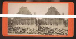 BOLOGNA FINE 800 - FOTO STEREOSCOPICA SU CARTONCINO DOPPIO - SAN PETRONIO. ANIMATISSIMA! - Stereoscopi