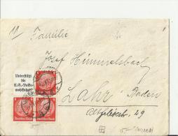 GERMANY 1937– COVER ADDR  FROM BREMEN TO LAHR – BADEN  W 1 BLOCH OF 3 STS  OF 8 PF+BANNER   POSTM BREMEN  FE - Deutschland