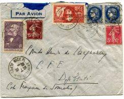 FRANCE LETTRE PAR AVION DEPART NICE 9-4-38 ARRIVEE DJIBOUTI 15 AVR 38 COTE Fse DES SOMALIS - 1927-1959 Briefe & Dokumente