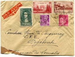 FRANCE LETTRE PAR AVION DEPART SEMUR 31-3-39 ARRIVEE DJIBOUTI 7 AVR 39 COTE Fse DES SOMALIS - 1927-1959 Briefe & Dokumente