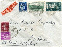 FRANCE LETTRE PAR AVION DEPART SEMUR 16 -8-37 ARRIVEE DJIBOUTI 22 AOU 37 COTE Fse DES SOMALIS - 1927-1959 Briefe & Dokumente