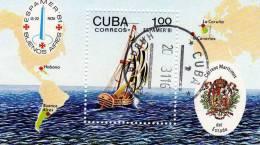 Segel-Schiff ESPAMER In Spanien 1981 Kuba 2596 Als Block 70 O 5€ Segler Landkarte Bf M/s Map Bloc Ship Sheet Of Cuba - Philatelic Exhibitions