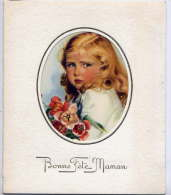 Bonne Fête --carte Simple --Portrait De 'enfant Avec Fleurs - Fête Des Mères