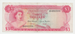 Bahamas 3 Dollars 1968 VF Crisp Banknote P 28 - Bahamas
