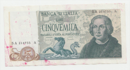 Italy 5000 Lire 1971 VF++ (with Color Stains) P 102a  102 A (Carli And Lombardo) - [ 2] 1946-… : Repubblica