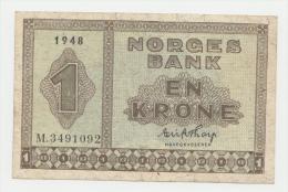 Norway 1 Krone 1948 VF++ (w/ 1 Border Split) P 15b 15 B - Norvegia