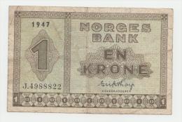 Norway 1 Krone 1947 VG Banknote P 15b 15 B - Norvegia
