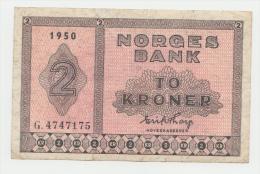"Norway 2 Kroner 1950 ""aVF"" Crispy P 16b  16 B - Norvegia"