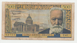France 500 Francs 1958 G-VG RARE Banknote - 1871-1952 Circulated During XXth