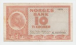 """NORWAY 10 KRONER 1970 """"""""F"""""""" P 31e  31 E - Norway"""
