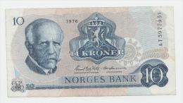 Norway 10 Kroner 1976 F++ Banknote P 36b 36 B - Norway