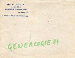 87 - LIMOGES - ENVELOPPE PUBLICITAIRE HOTEL VIALLE - PROPRIETAIRE BESNARD SERVICE DE GARE AUTOMOBILE - Publicités