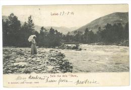 CARTOLINA - RARA - SULLE RIVE DELLO STURA -  LANZO  - TORINESE - ANIMATA  - VIAGGIATA NEL 1904 - Sin Clasificación