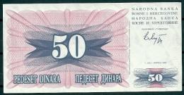 BOSNIA-HERZEGOVINA 1992 50 DINARA P12 -G - Bosnia Y Herzegovina