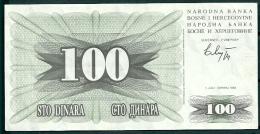 BOSNIA-HERZEGOVINA 1992 100 DINARA P13 -G - Bosnia And Herzegovina