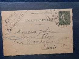 A3116  CARTE LETTRE POUR PARIS  1919 - Entiers Postaux
