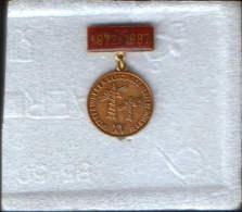 Romania-Pin Bronze,type Medal-XVth Anniversary Of The Electric Power Plant Rovinari 1972-1987 - Autres