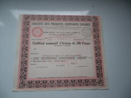 PRODUITS CHIMIQUES COIGNET (certificat D'actions De 500 Francs) 1948 - Shareholdings