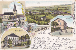 333# GRUSS AUS BLIESBRÜCKEN KIRCHE CAFE STARCK BAHNHOF 1902 BLISEBRUCK EGLISE GARE MOSELLE - France
