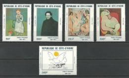 """Cote D´Ivoire YT 627 à 631 """" Tableaux De P. Picasso, 5 TP """" 1982 Neuf ** - Costa De Marfil (1960-...)"""