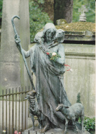 CPSM PARIS PERE LACHAISE CIMETIERE STATUE BON BERGER DE P CURILLON 40 EME DIVISION - Parks, Gardens