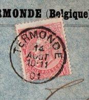 N°57 Op Brief, Perfo V G (Vertongen-Goens), Afst. TERMONDE 14/08/1901 - 1863-09