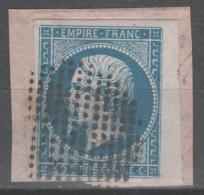 Napoléon III N° 14A Avec Oblitération Cercle De Points, Bord De Feuille Sur Fragment  TTB - 1853-1860 Napoléon III