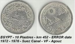 EGYPT - 10 Piastres - Km 431- ERROR Date 1972  - Suez Canal - VF - Agouz - Egypt