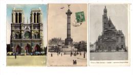 Cp , 75 , PARIS , Notre Dame , Bastille , église St E. Du Mont , 2 Voyagées + 1 Vierge , LOT DE 3 CARTES - Frankrijk