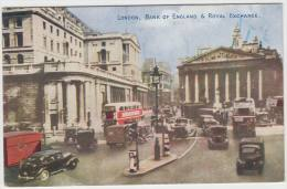 London: OLDTIMER CARS, AUTOBUSES,TRUCK, MOTOR  - Streetscene - Bank Of England & Royal Exchange (1953) - PKW