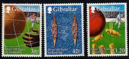 C0251 GIBRALTAR 1999, SG894-896 Sporting Centenaries, Cricket, Football, Rowing  MNH - Gibilterra