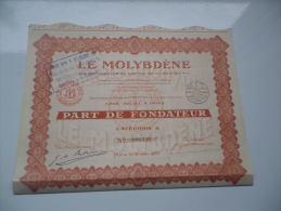 LE MOLYBDENE (part Fondateur) 1930 - Shareholdings