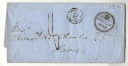 Londres Pour Paris. Cachet D'entrée Angleterre Ambulant Calais D. - 1849-1876: Classic Period