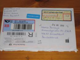 Brief Cover Tschechei Czech Republik Tschechische Republik Einschrieben Registrated Envelope Rotava - Düsseldorf - Tschechische Republik