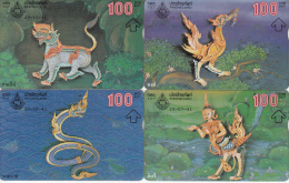 THAILAND(L&G) - Set Of 4 TOT Telecards 100 Baht, Used - Thailand