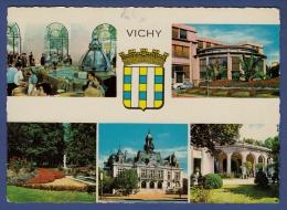 03 VICHY Source De L´Hôpital, La Poste, Parc De L´Allier, Hôtel De Ville, Source Célestin 5 Vues - Animée - Vichy