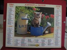 Petit Chat, Chien, Calendrier Almanach Du Facteur - Oller - 2008 - 2 Photos - Calendriers