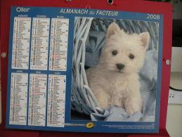 Chien / Chat , Calendrier Almanach Du Facteur - Oller - 2008 - 2 Photos - Calendriers