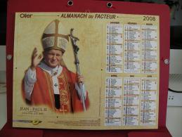 Jean Paul II , Calendrier Almanach Du Facteur - Oller - 2008 - 2 Photos - Calendriers