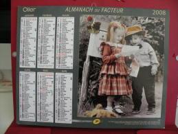 Les Enfants Et La Lettres Et Le Bisous , Calendrier Almanach Du Facteur - Oller - 2008 - 2 Photos - Calendriers