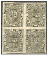 ES141s-L2115TSC.España. Spain . Espagne.ESCUDO  DE ESPAÑA.Impuestos De Guerra.1874.(Ed 141s)bloque De 4 - Sellos