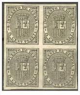 ES141s-L2115TO.España. Spain . Espagne.ESCUDO  DE ESPAÑA.Impuestos De Guerra.1874.(Ed 141s)bloque De 4 - Otros