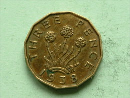 1938 - THREE PENCE / KM 849 ( Uncleaned Coin / For Grade, Please See Photo ) !! - F. 3 Pence