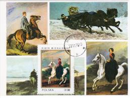 Poland 1976 Fauna Horse Horses Piotr Michalowski Painter Canceled In Bytom - Cartes Maximum
